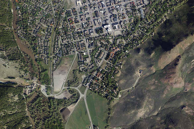 Blaine County Flooding Aerial Photography; South Ketchum