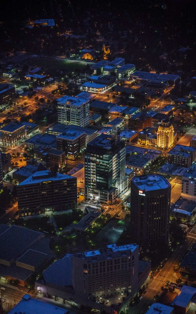 Aerial Photography-Night Aerial Photography of Downtown Boise, Idaho.