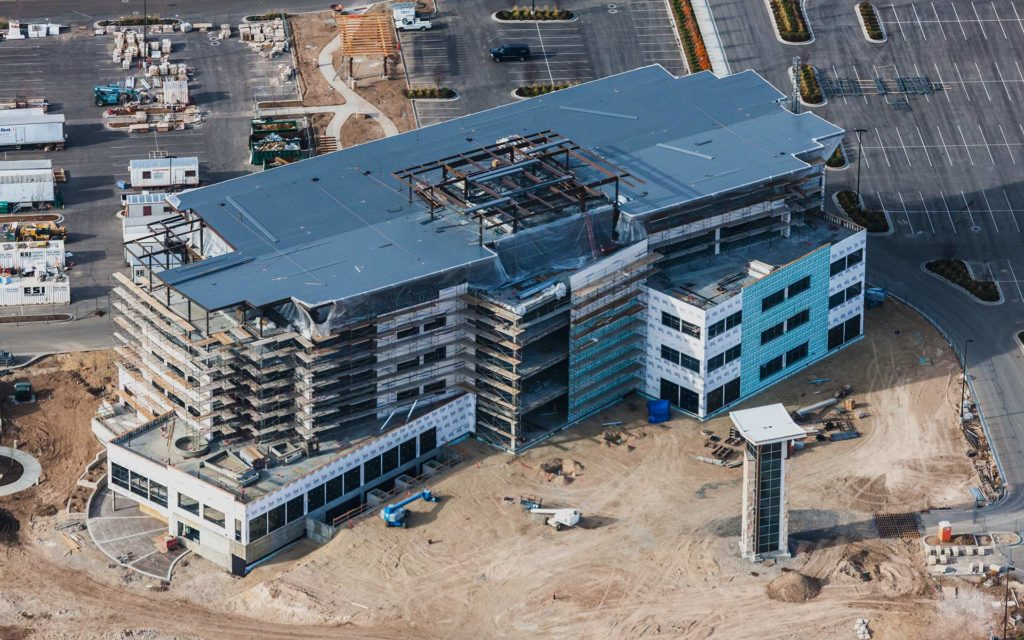 Aerial Photography-Construction of the Scentsy Campus, Meridian, Idaho.
