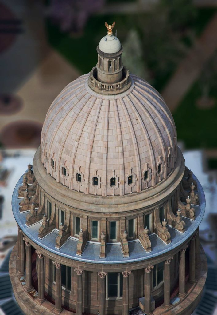 Aerial Photography-Idaho State Capitol Dome and Gold Plated Eagle.