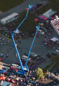 Aerial Photography, Man Lifts at NCAA Event.
