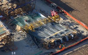 Forensic Aerial Photography, Bridge Component Collapse During Construction.