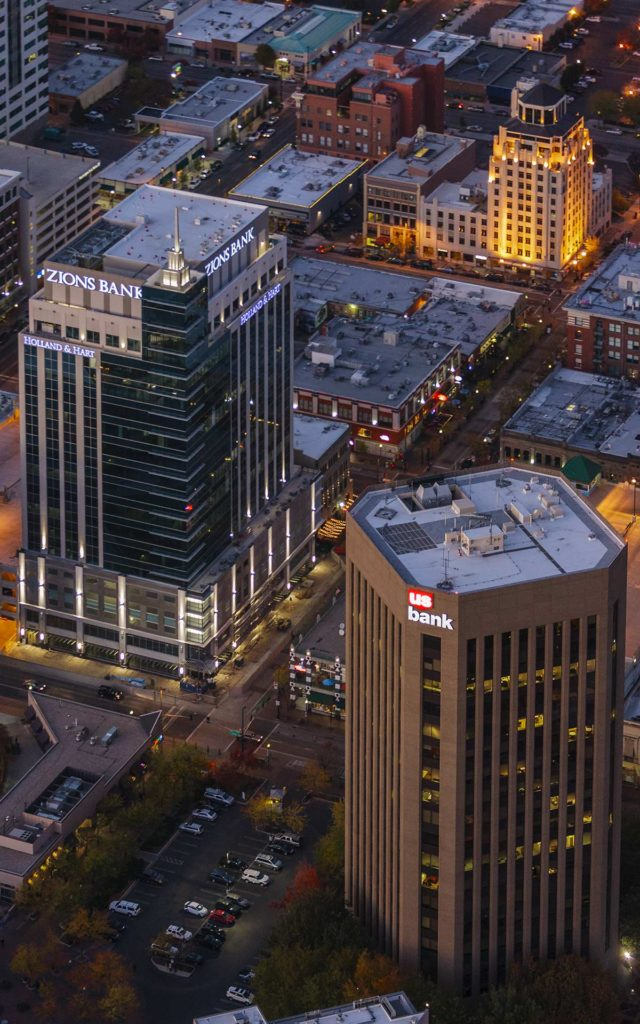 Aerial Photography-Zion's Bank (8th & Main) and USBank at Night, Downtown Boise, Idaho.