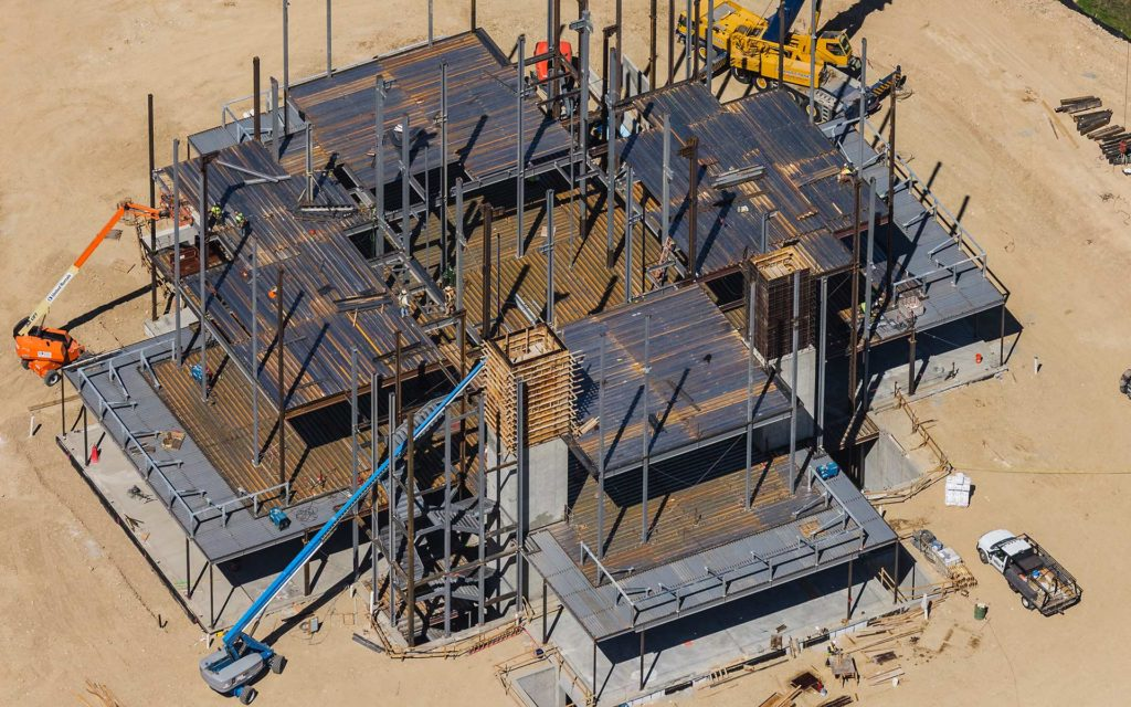 Forensic Aerial Photography-Steel Erection During Construction, LDS Temple, Meridian, Idaho.