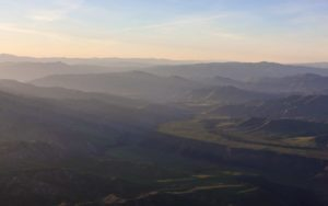 Aerial Photography, South Fork of the Boise River Just After Sunrise.