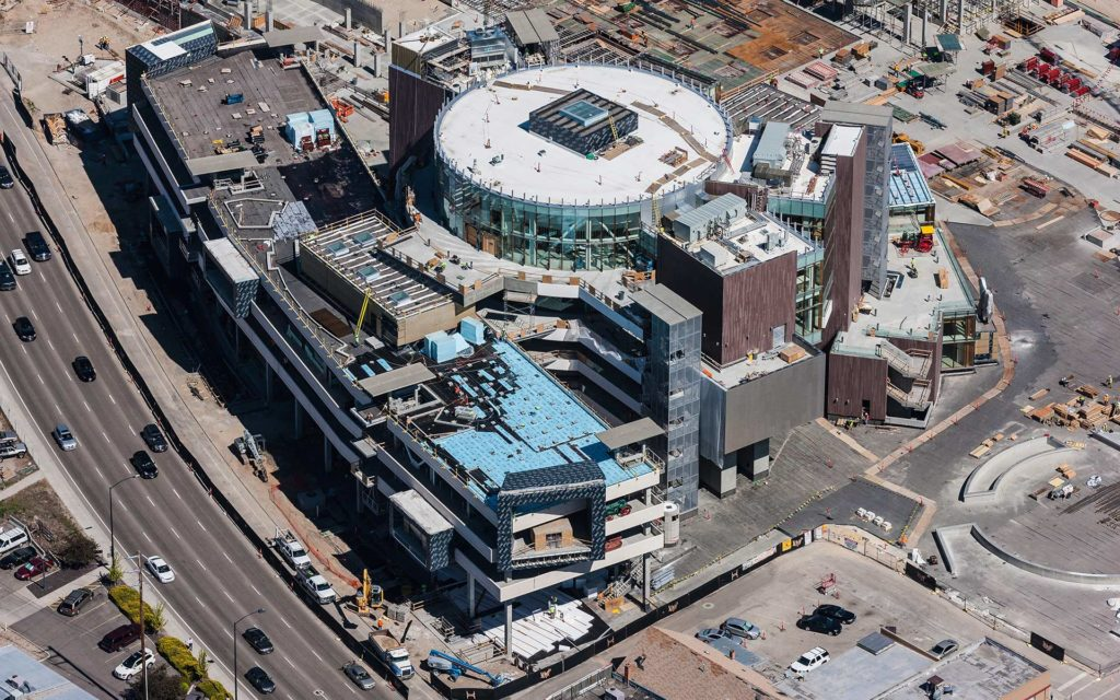 Aerial Photography-Construction of JUMP in Downtown Boise, Idaho.