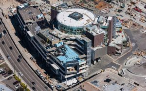 Aerial Photography, Construction of JUMP in Downtown Boise, Idaho.