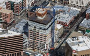 Aerial Photography, Construction Crane at Zion's Bank (8th & Main) in Downtown Boise, Idaho.