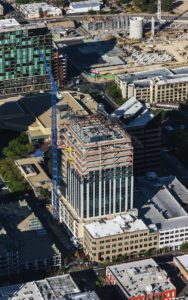 Aerial Photography, Construction of Zion's Bank (8th & Main), Dowwntown Boise, Idaho, With Cranes; JUMP In the Background.