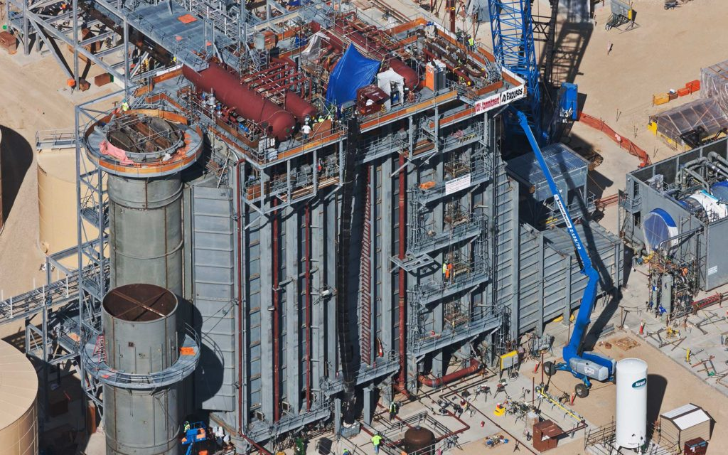 Aerial Photography; Natural Gas Power Generation Plant Construction with Cranes.