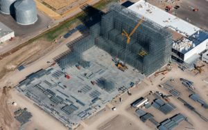 Aerial Photography, Construction of Agricultural Processing Plant in Burley, Idaho With Crane.