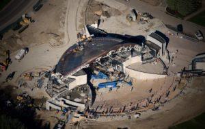Aerial Photography, Sun Valley, Idaho Pavillion Construction.