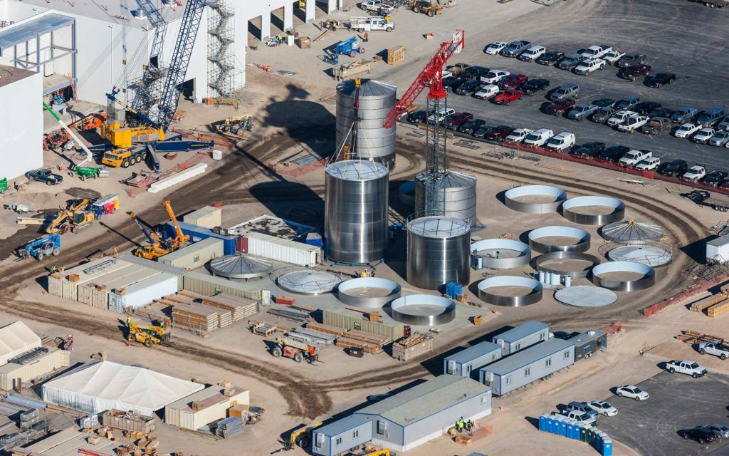 Aerial Photography-Construction at Chobani, Twin Falls, Idaho, with Tanks and Cranes.