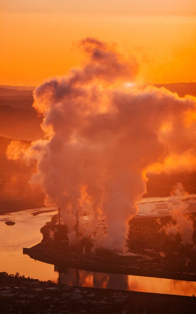 Aerial Photography-Potlatch (Lewiston, Idaho) at Dawn.