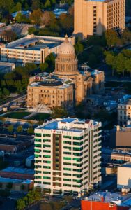 Aerial Photography, Banner Bank Framed in Shadow With Idaho Capitol.