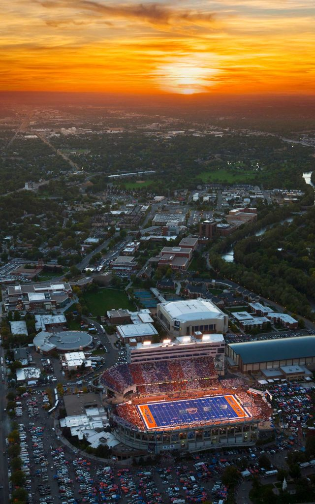 Aerial Photography-Boise State Football at Albertson Stadium, With Boise River and Boise State University Under Sunset.