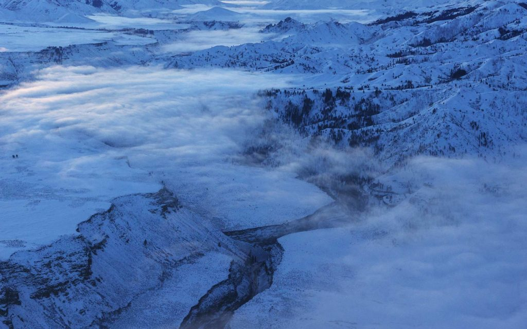 Aerial Photography-South Fork of the Boise River in Winter with Ground Fog.