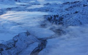 Aerial Photography, South Fork of the Boise River in Winter With Ground Fog.