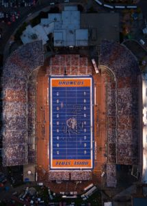 Aerial Photography, Orthograph of Boise State Division 1 Football Night Game at Albertson Stadium.