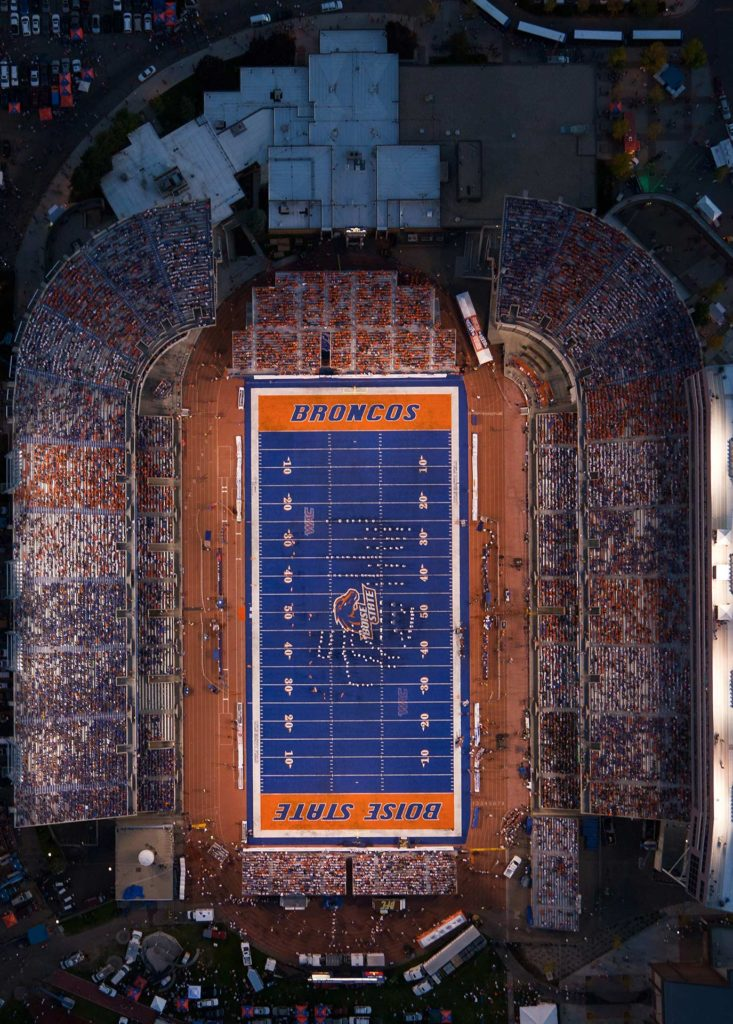 Aerial Photography-Orthograph of Boise State Football Night Game at Albertson Stadium.