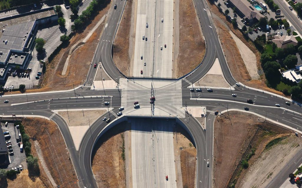 Aerial Photograph-Interstate 84 Vista Blvd. SPUI Interchange Traffic Monitoring Frame Capture.