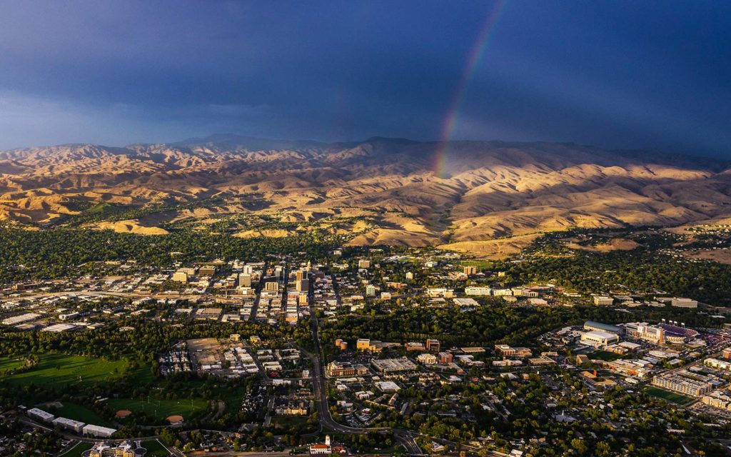 Aerial Photography-Downtown Boise, Idaho, BSU Division 1 Football, and Foothills, with Rainbow.