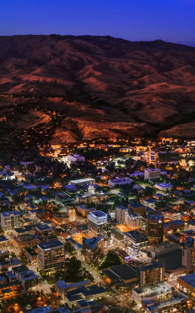 Aerial Photography-Downtown Boise, Idaho and Foothills, at Sunset.