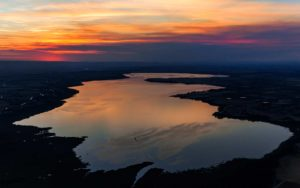 Aerial Photography, Lake Lowell in Nampa, Idaho Under Sunset.