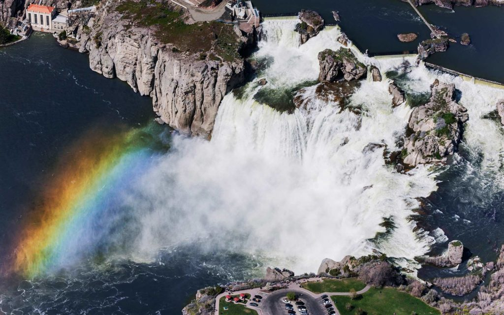 Aerial Photography-Shoshone Falls, Snake River, Twin Falls, Idaho, with Rainbow.