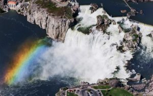 Aerial Photography, Shoshone Falls, Snake River, Twin Falls, Idaho, with Rainbow.