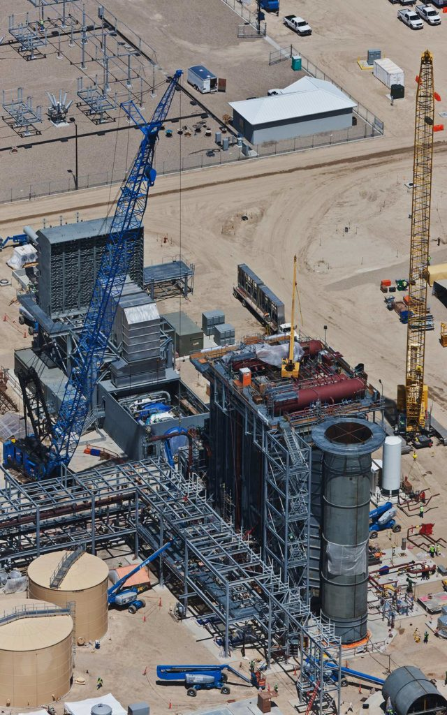 Aerial Photography-Construction of Natural Gas Power Generation Plant: Cranes, Heat Exchangers, Turbine Engine.