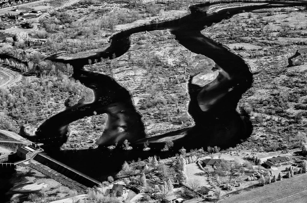 Near Infrared Aerial Photography-Barber Dam and The Boise River in East Boise, Idaho.
