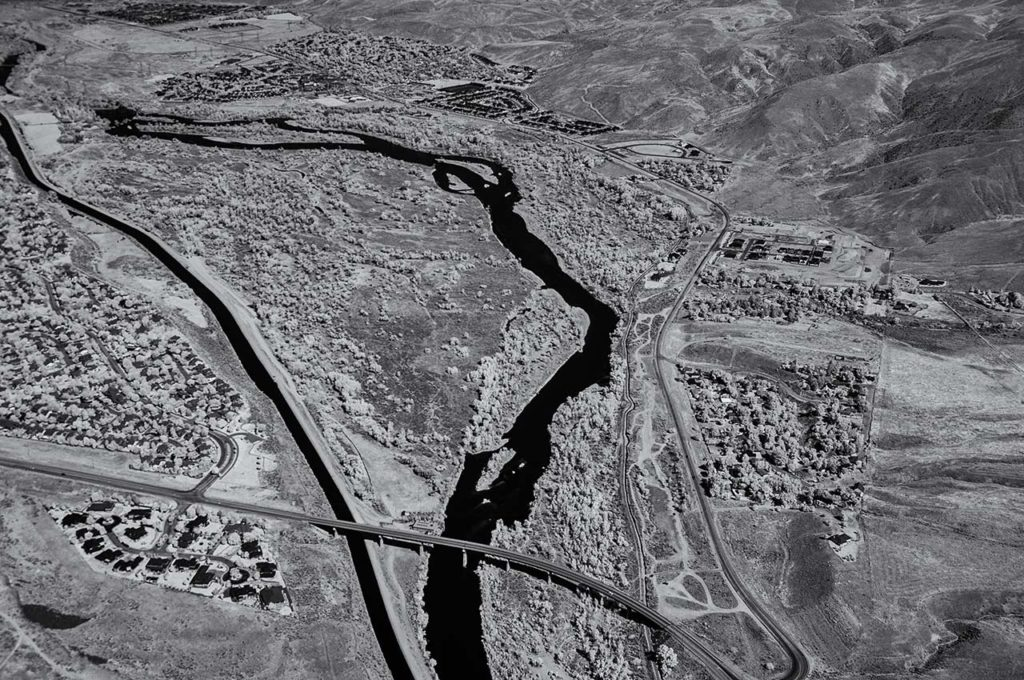 Near Infrared Aerial Photography-Boise River North of Idaho State Highway 21 Bridge Over the Boise River in Southeast Boise, Idaho.
