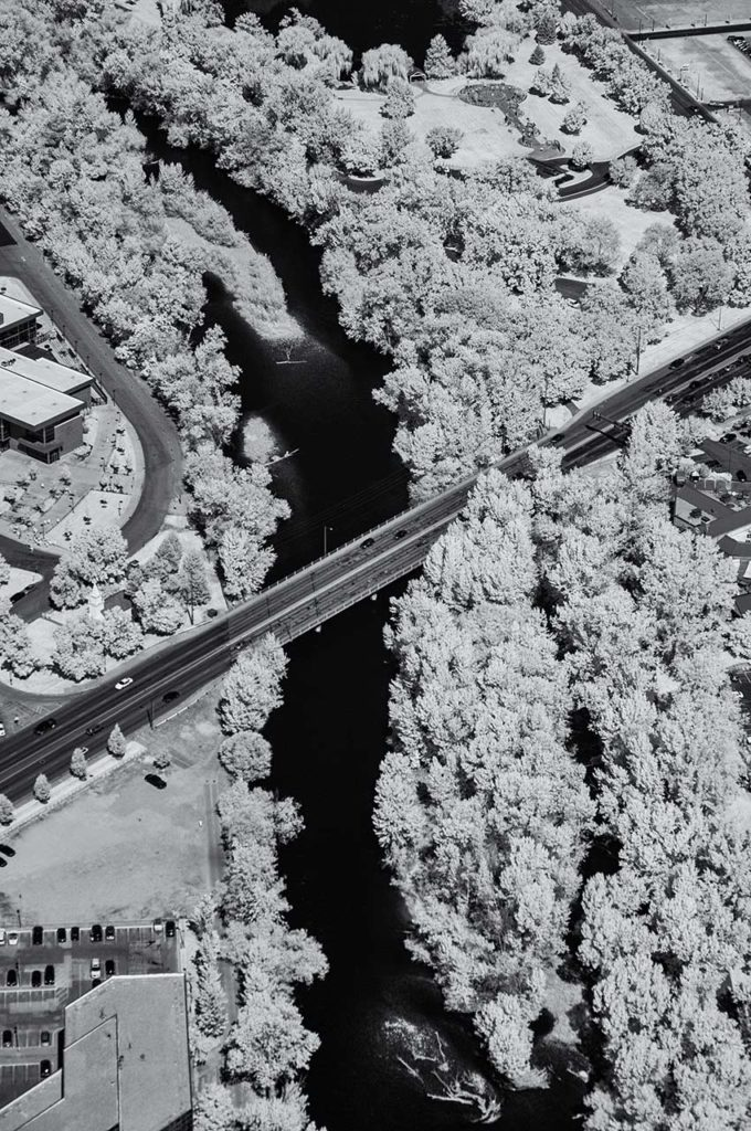 Near Infrared Aerial Photography-Old Broadway Bridge Over the Boise River, Downtown Boise, Idaho.