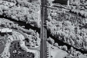Near Infrared Aerial Photography, Old Broadway Bridge Over the Boise River, Downtown Boise, Idaho.