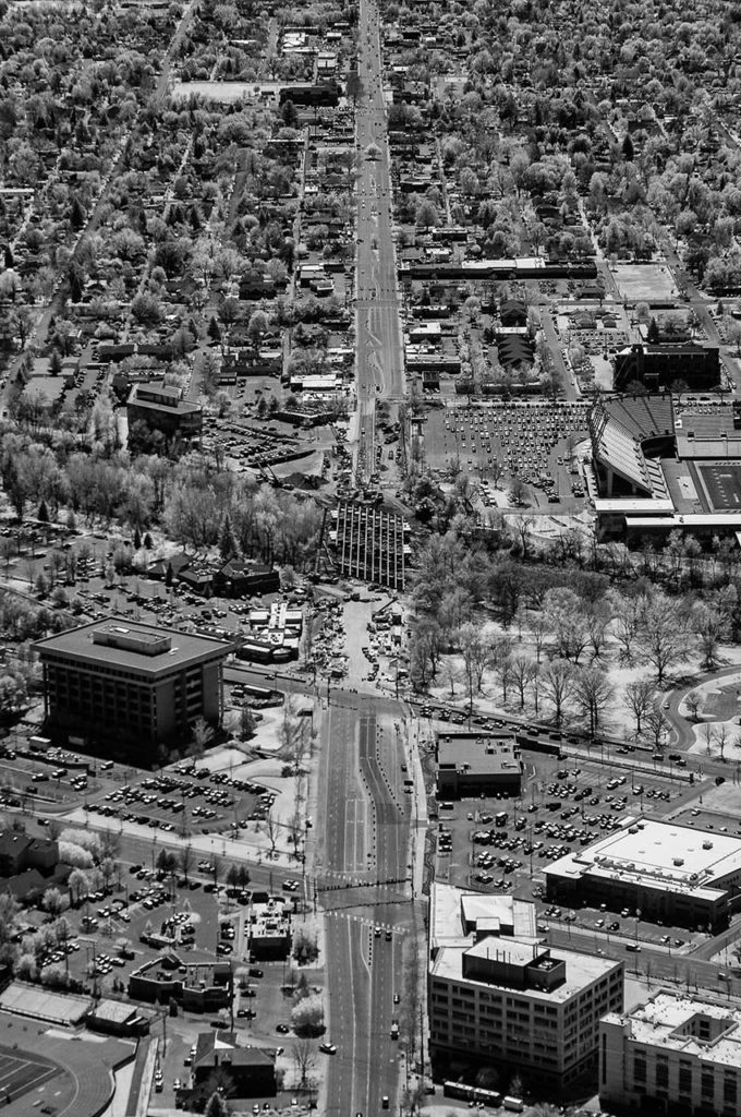 Near Infrared Aerial Photography-View South Along Broadway Blvd., with Broadway Bridge Construction in Progress Over the Boise River.
