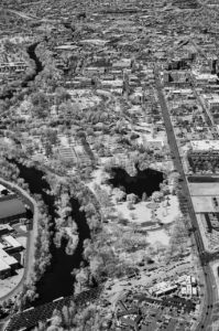 Near Infrared Aerial Photography, Julia Davis Park Along the Boise River, Downtown Boise, Idaho.