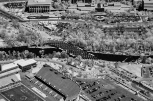 Near Infrared Aerial Photography, Broadway Bridge Over the Boise River Under Construction, Downtown Boise, Idaho.