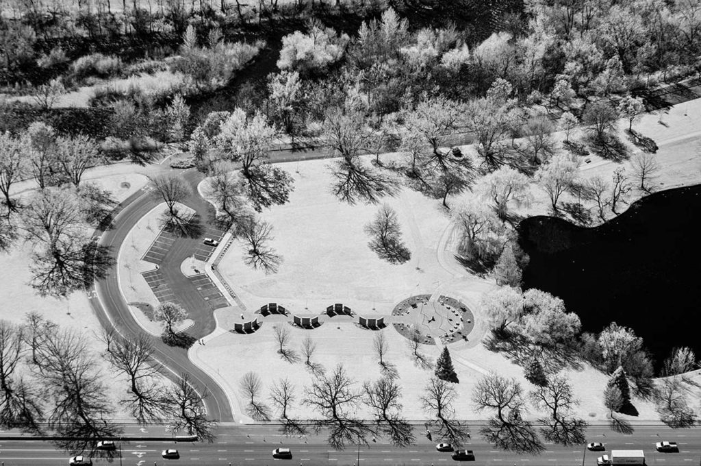 Near Infrared Aerial Photography-Bloch Cancer Memorial in Julia Davis Park, Downtown Boise, Idaho.