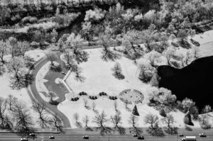 Near Infrared Aerial Photography, Bloch Cancer Memorial in Julia Davis Park, Downtown Boise, Idaho.