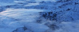 Aerial Photograph of the Boise River in Winter, With Ground Fog.
