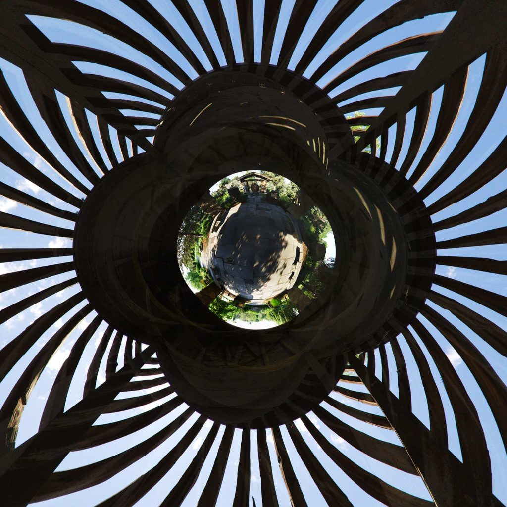 "Inside the Great Gazebo at Albertson Park, Downtown Boise, Idaho ""Little Planet"" Photograph."