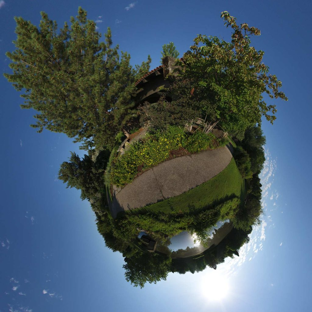 "Outside the Great Gazebo at Albertson Park, Downtown Boise, Idaho ""Little Planet"" Photograph."