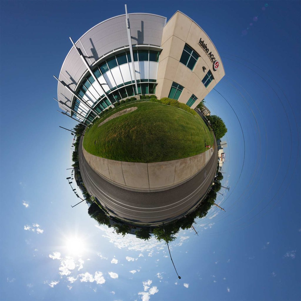 "Idaho Association of General Contractors Office in Boise, Idaho ""Little Planet"" Photograph."