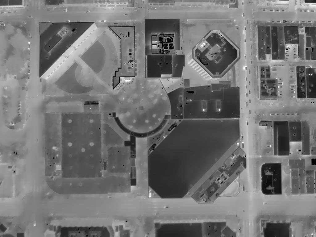 Aerial Thermograph of the Boise Centre in Downtown Boise, Idaho. This image was acquired at night on 10/27/18.