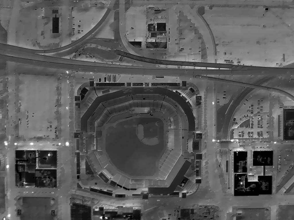 Aerial Thermograph of Busch Stadium and Context, St. Louis, MO.
