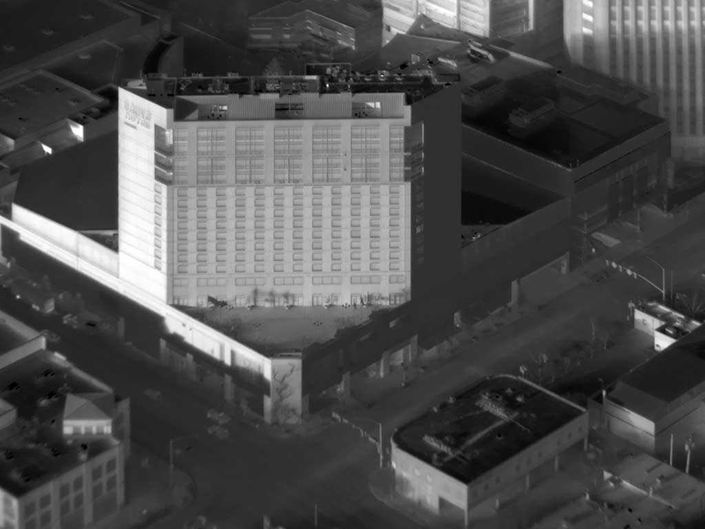 Oblique Daytime Aerial Thermograph of the Grove Hotel in Downtown Boise, Idaho.