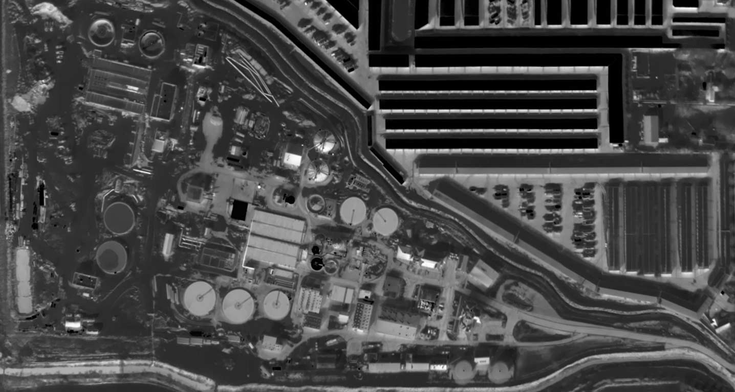 Aerial Thermal Map of Wastewater Treatment Plant