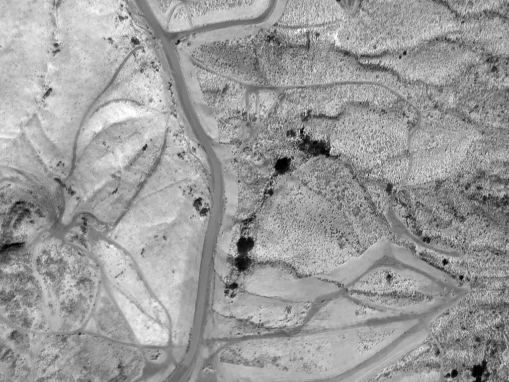 Daytime Aerial Thermograph of Rural Area Near Riverside, California (33.958701°, -117.297495) Assessing Insolation, Etc.