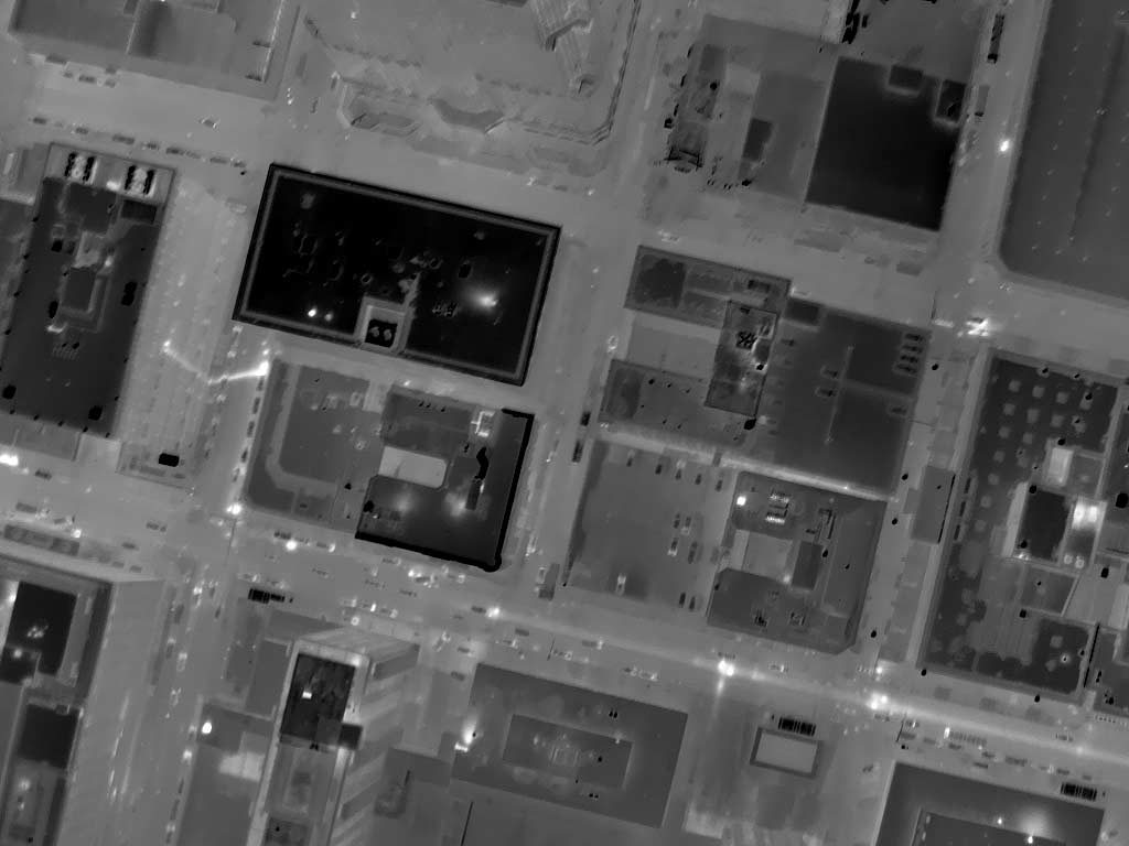 Night Aerial Thermograph of Downtown St. Louis, MO, Near 4th St. North and Pine. An Issue and It's Reflection are Obvious. Approximate Ambient Air Temperture 20°F Without Respect to Urban Canyon Microclimatologies.
